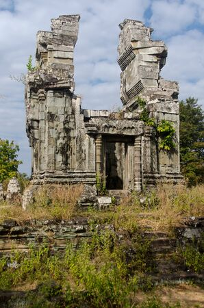 Phnom Bok is a small Angkorian temple located on a small mountain outside the town of Siem Reap. Stock Photo