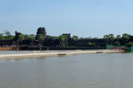 Siem Reap, Cambodia - 23 January 2017: Construction of pontoon bridge over the western moat of Angkor Wat, to facilitate the restoration of the main stone causeway over the next five years.