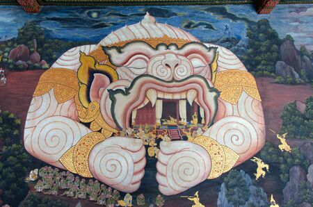 Mural from the Wat Phra Kiew in Bangkok depicting a scene from the Ramayana, where Hanuman transforms himself into a giant and protects Rama and his wife in his mouth. Editorial