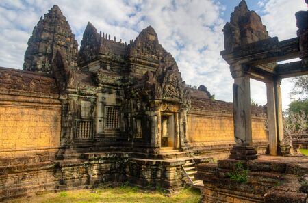 Built in the 12th century and contemporaneous to the more famous Angkor Wat, Banteay Samre is a lesser known temple in the outskirts of Siem Reap Stock Photo