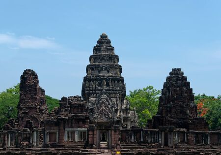 The Phimai Historical Park is an ancient Khmer temple in northeast Thailand, connected by an ancient road to Cambodias Angkor Wat