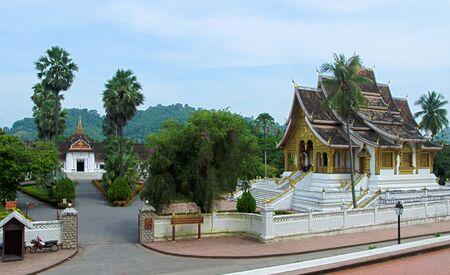 The Royal Palace of Luang Prabang, now a National Museum, and the Haw Pha Bang which houses the sacred Buddha image of Luang Prabang