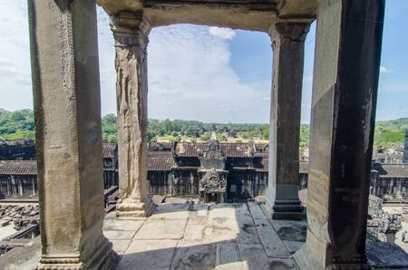 The view from the top of Angkor Wat overlooking the central causeway Stock Photo