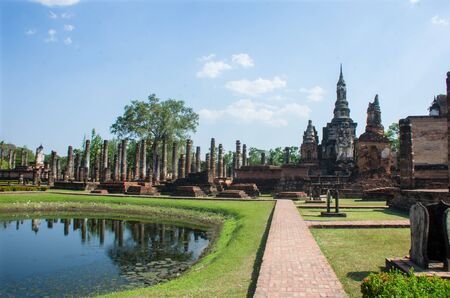 Grounds of the 12th century Wat Mahathat, or Temple of the Great Relic', in Sukhothai, Thailand