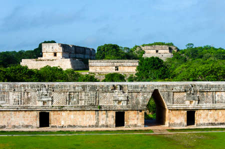 Mayan architecture from the Uxmal temple complex in the Yucatan Peninsula of Mexico