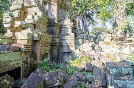 Ruins of the 12th-century Ta Prohm temple in the Angkor Archaeological Park. Ta Prohm was deliberately left in its ruined state to preserve the look of how the temples were first rediscovered in the 19th century.