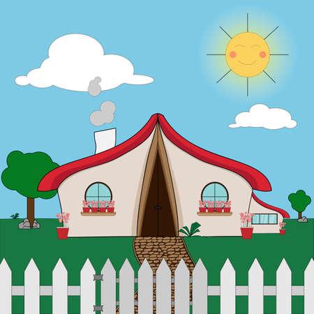 A original cartoon countryside house Vector