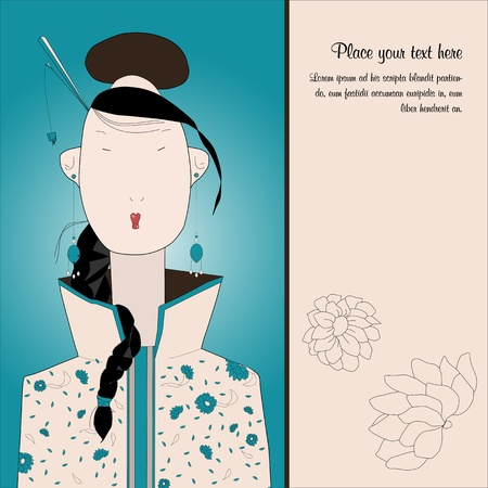A oriental vintage woman front