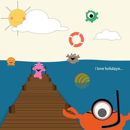 vacances: Funny holidays card