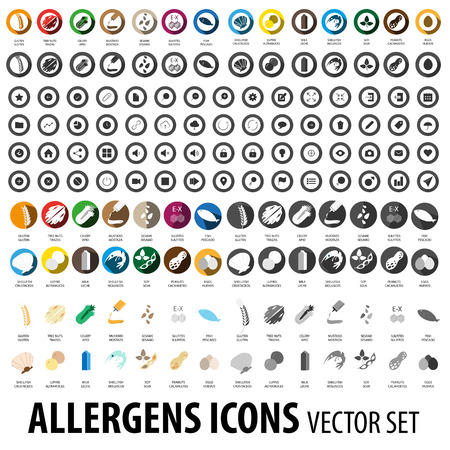 Allergens icons set