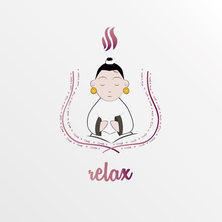 Meditatie kid illustratie Stock Illustratie
