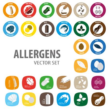 Allergens big icon menu in September Vectores