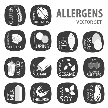alergenos: Los al�rgenos negro conjunto de vectores