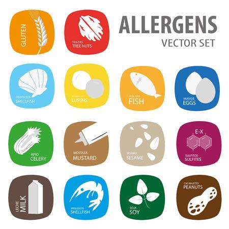 allergens: Colorful vector set Allergens