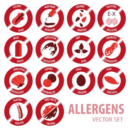food allergies: Food allergies vector set