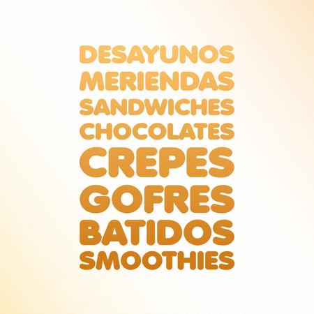 Spaanse ijssalon menu Stock Illustratie