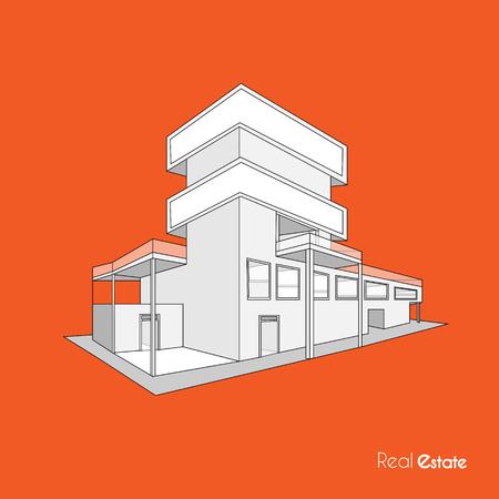 Sketch building business background Ilustração