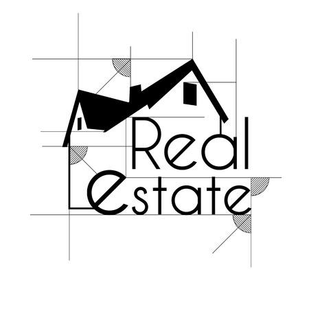 Real estate sketch background Ilustração