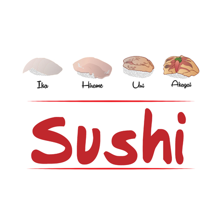 日本の寿司の背景  イラスト・ベクター素材