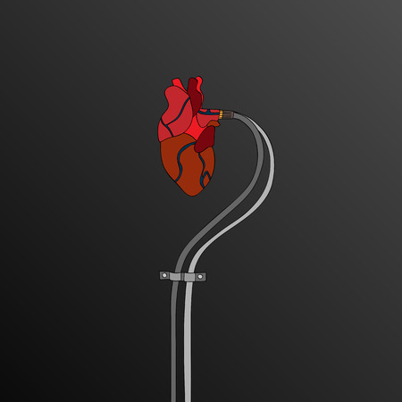 pacemaker: Artificial heart background illustration