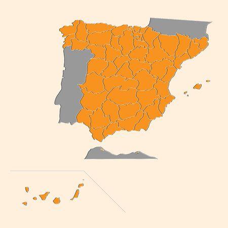 Orange background Spanish map Ilustração