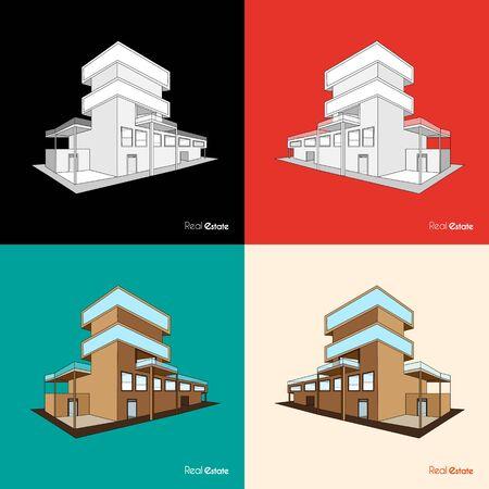 Set of building background in September Ilustração