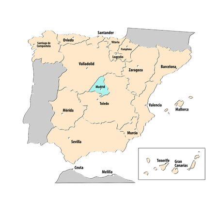 Hoofdsteden van Spanje kaart Stock Illustratie