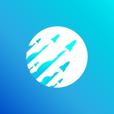 Blue background space rocket