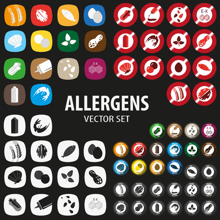 allergens: Allergens big set for restaurant menu