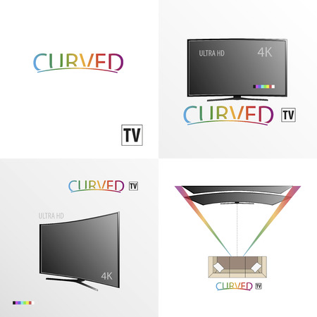 channel: Curved TV background for business scheme