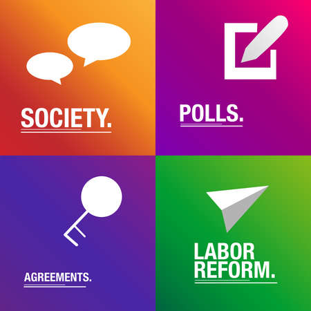 polls: Polls and Reforms for people background Illustration