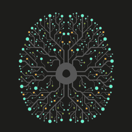 electronic board: Technology brain circuit connection