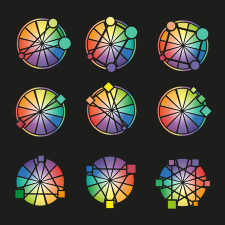 color theory: With three primary color wheel colors on black background