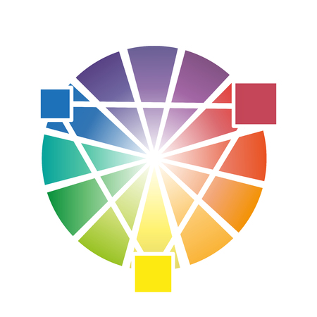 secondary: Color wheel With three secondary colors vector illustration
