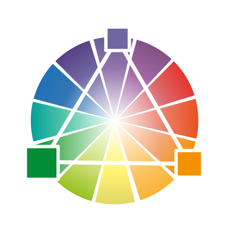 color theory: Color wheel With three primary colors for students Illustration