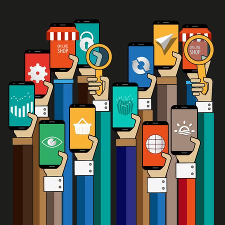 Hands Up With smartphone background Stock fotó - 59614910