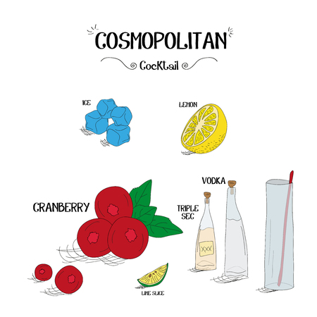 how to make a Cosmopolitan cocktail set with ingredients for restaurants and bar business vector illustration