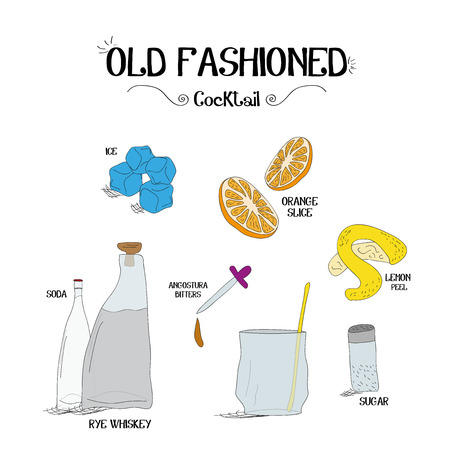 how to make an old fashioned cocktail set with ingredients for restaurants and bar business vector illustration Illusztráció