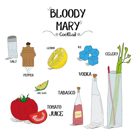 how to make a Bloody Mary cocktail set with ingredients for restaurants and bar business vector illustration
