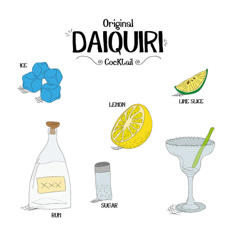 how to make the original daiquiri cocktail set with an ingredients for restaurants and bar business vector illustration
