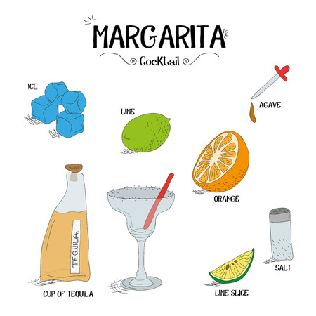 how to make a Margarita cocktail set with ingredients for restaurants and bar business vector illustration Illusztráció