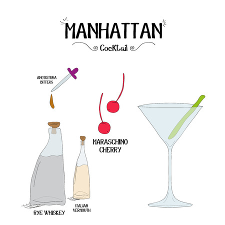 how to make a Manhattan cocktail set with ingredients for restaurants and bar business vector illustration