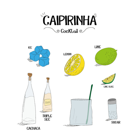 how to make a Caipirinha cocktail set with ingredients for restaurants and bar business vector illustration Stock fotó - 59124858