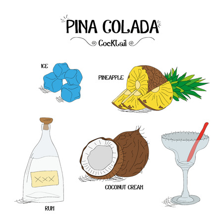 how to make a pineapple cocktail set with ingredients for restaurants and bar business vector illustration Stock fotó - 59124864