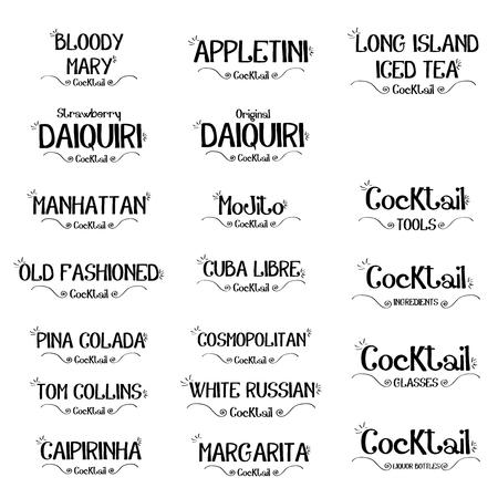 Set of cocktails  for restaurants and bar business vector illustration Illusztráció