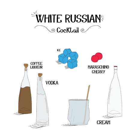 how to make a white Russian cocktail set with ingredients for restaurants and bar business vector illustration Stock fotó - 59124147