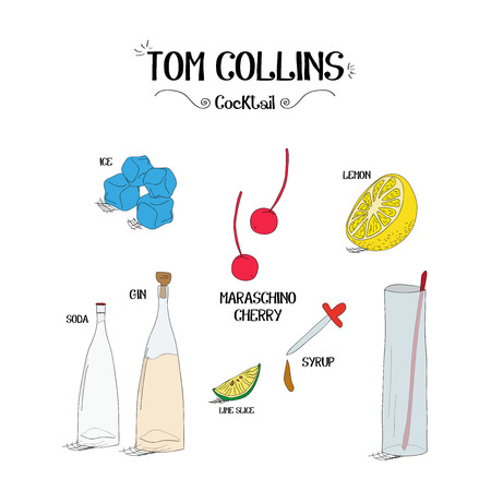 how to make a Tom Collins cocktail set with ingredients for restaurants and bar business vector illustration Illustration