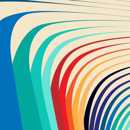 Colorful twisted curved concentric stripes background Illustration