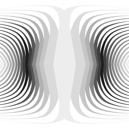 湾曲した黒ツイスト同心ストライプの背景  イラスト・ベクター素材