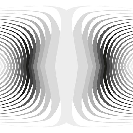 Black curved twisted concentric stripes background